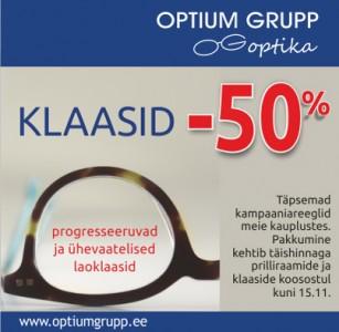 VÕTA OPTIUM GRUPP OPTIKAST KLAASID -50% SOODSAMALT!